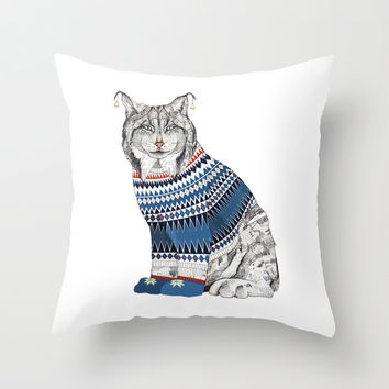 Christmas Lynx // Festive Furries No.1 Throw Pillow by Sandra Dieckmann