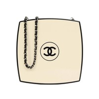 Chanel 2015 Runway Beige & Black Compact Clutch Bag RHW