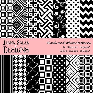 Black and white Patterns Digital Scrapbook Paper INSTANT DOWNLOAD - 14 jpg files 12x12