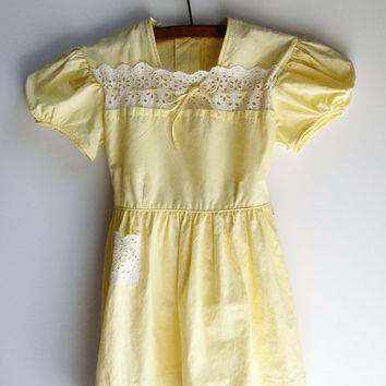 Yellow Eyelet Dress, Baby Girl, Vintage Clothes, Size 4T, Handmade, 1960's