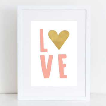 Love - Printable art , Instant download, Typrography, Wall Art, Nursery, Shower, Kid deco