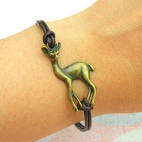 Sika deer    Bracelet ------ antique  bronze  lovely   Sika deer   pendant   Bracelet,&leather  bracelet