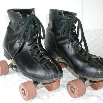 Chicago Black Leather Roller Skates - Vintage Quads -  Mens Size US 7 - Eur 39 - Uk 6 - Au 6