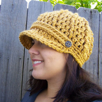 Crochet Newsboy Hat- Mustard Yellow