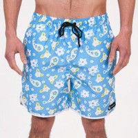 Country Clubbers Paisley Swim Trunks in Blue by Rowdy Gentleman - FINAL SALE