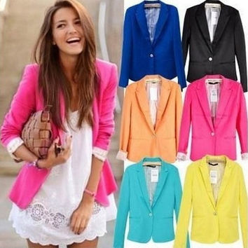 Blazer Women Leisure New 2014 Candy Color Jackets Suit One Button Slim Ladies Blazers Work Wear = 1929743044
