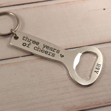 """Three Years of Cheers"" - Personalized, THIRD Anniversary Bottle Opener Keychain"