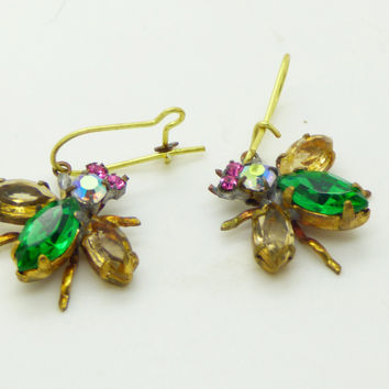 Czech Glass Rhinestone Fly Earrings, Green and Pale Yellow