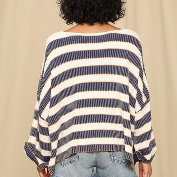 Kixters - Light Navy/White Multi Stripe Long Sleeve Sweater
