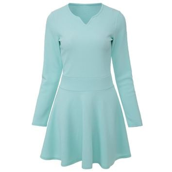 Sweet Round Collar Long Sleeve Candy Color A-Line Women's Mini Dress