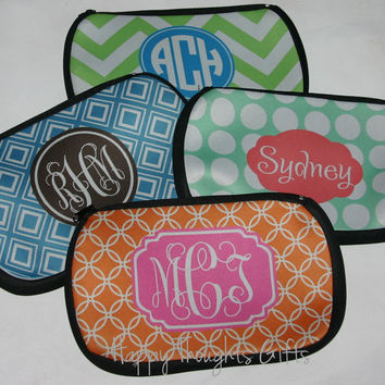 Monogrammed Pencil Bag - Monogram Gift - Personalized Makeup Bag - Choose your Design and Colors