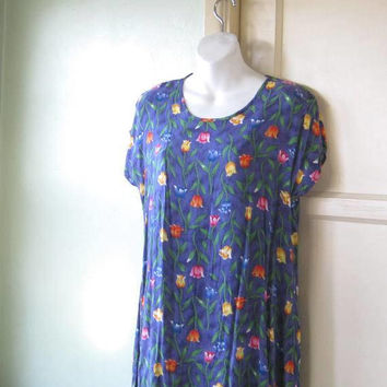 Bright Tulip Print Purple Short Nightie; Women's Medium Short-Sleeve Knit Nightgown; U.S. Shipping Included