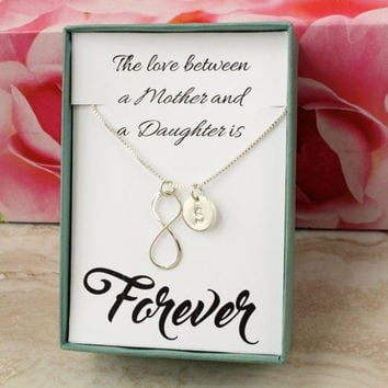 Mother's Day gift for Mom or daughter sterling silver necklace personalized with initial charm and infinity