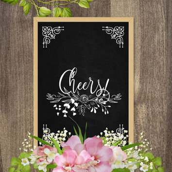 Cheers sign, Cheer signs, Cheer print, Country chic wedding decor, Rustic country wedding decorations, Wedding signs DIY, Wedding wall art