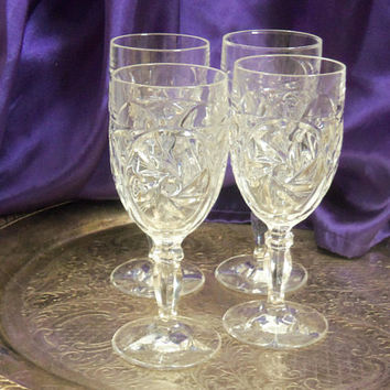 Hobstar Whirled Pinwheel Wine Goblets, Set of Four, Hand Blown Heavy Cut Crystal, Baluster Stems, Deep Bell Tone, Vintage Crystal Barware