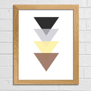 Geometric Print Triangle Art Brown Beige Yellow Gray Black Triangle Art Printable Art Wall Decor Wall Art Home Décor Abstract Art Print Art