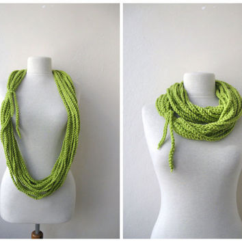 Light Green Scarf Lariat Cowl NeckwarmerFall by KnitAndWedding