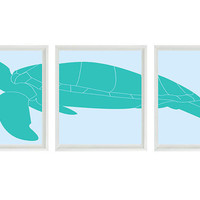 Sea Turtle Art Print Set - Sea Turtle Nursery Beach House Wall Art Children Room Home Decor - Aqua Blue (3) 8x10 Prints