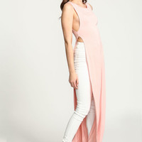 PEACH SLEEVELESS MAXI JERSEY SLIT TEE