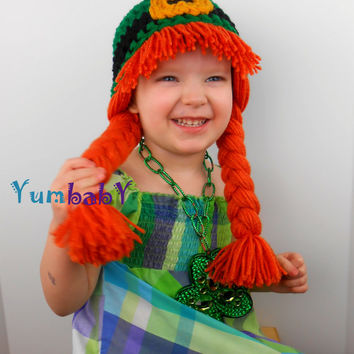 Leprechaun Hat Size Adult Small- Leprechaun Wig for Saint Patrick's Day  - Kiss me I'm Irish