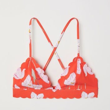 Triangle bikini top - Coral red/Floral - Ladies | H&M GB