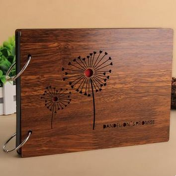 8 inch Dandelion Wood Cover Albums Handmade Loose-leaf Photo Album