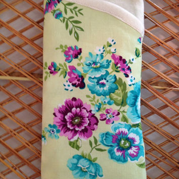Vintage Green & Blue Floral Wallpaper Print Sunglasses Eyeglasses Glasses Case Retro