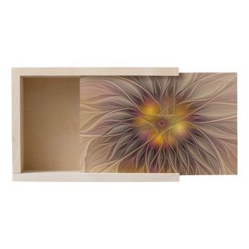 Luminous Colorful Flower, Abstract Modern Fractal Wooden Keepsake Box