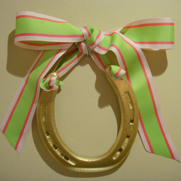 Gold Horseshoe-Hand Painted Gold with Pink & Green Preppy Stripe Grosgrain Ribbon-hanging horseshoe, lucky horse shoe, horseshoe