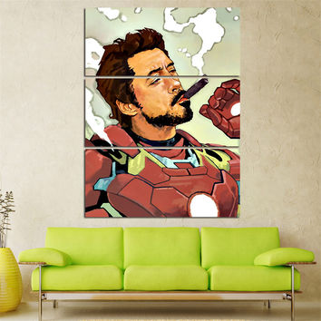 Mordern Canvas Painting for Kids Room Iron Man Cartoon Posters and Prints Cuadros Decoration Modular Painting NO Frame 3 Pieces