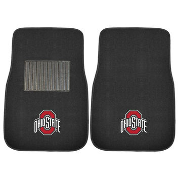 Ohio State Buckeyes NCAA 2-pc Embroidered Car Mat Set