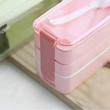 Good 900ml Portable 3 Layer Healthy Food Container Microwave Oven Lunch Bento Boxes Lunchbox