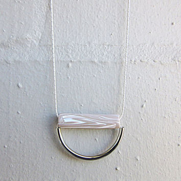 NL-217 Light Brown Latte and White Wood Grain Pattern Clay Tube with Half-circle Steel Plated Brass Tube Pendant in Silver Plated Chain
