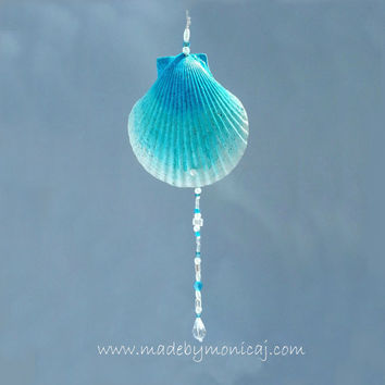 Scallop Seashell Wall Hanging Decor with Jewelry Beading Painted in Shades of Blue Ombre Effect.