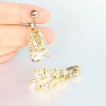 Bezel crystal Earrings, Clear Swarovski crystal Cluster Chandelier, vintage Bridal Bridesmaid jewelry