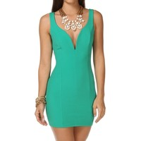 Pre-Order: K. Green Plunging Neckline Short Dress