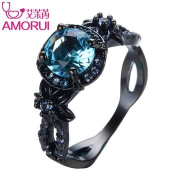AMORUI Vintage Flower Blue Birthstone Wedings Rings for Women/Men Jewelry Gold Black Color Copper Engagement Ring Bijoux Gift