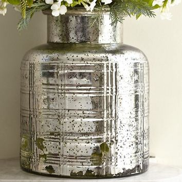 Plaid Etched Antique Mercury Glass Vase