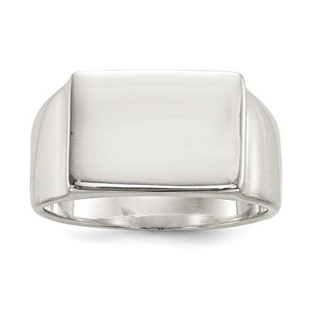 925 Sterling Silver 12x17mm Closed Back Signet Ring