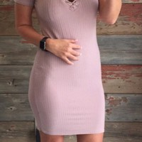 Crossing Lines Ribbed Dress: Rose