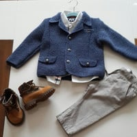 free shipping/boys jacket/knitting jacket/blazer jacket/metal buttons/baby boy clothes/knit/gift/coat/blazer/baby shower/birthday/toddler
