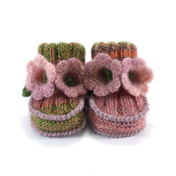 Baby Booties Hand Knitted with Crochet Bell Flowers - Green and Pink, 0 - 6 months