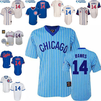 2016 World Series Champions patch Cream Ernie Banks Authentic Jersey , Men's #14 Majestic Chicago Cubs 1929 1942 Turn Back The Clock 1994