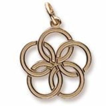 Five Golden Rings Charm In Yellow Gold