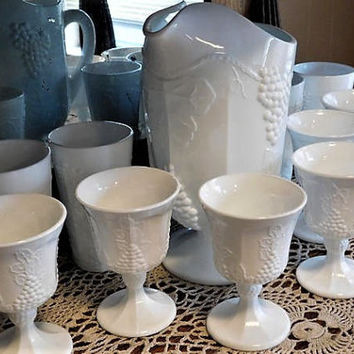 Indiana Harvest Colony Milk Glass Grape and Leaf Pitcher Set Tumblers Goblets 1960s 60s Mid Century Vintage Country Cottage Home Decor