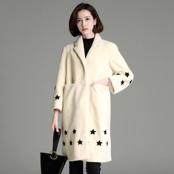 2018Womens'  Winter fur coat personality cute star pattern print fur coat women long sleeve warm wool coat fashion girl