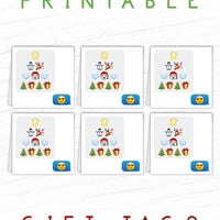 Printable Gift Tag, Emoji Gift Tags, Holiday Gift Labels, Modern Gift Tags, Social Media, Christmas Hang Tag, Xmas Gift Tag, Party Favor Tag