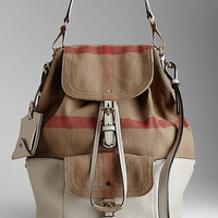 Medium Canvas Check Hobo Bag