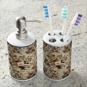 Vintage fLORAL CASE Soap Dispenser & Toothbrush Holder