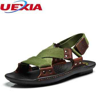 2017 Men Shoes PU Leather Flat Casual Sandals Flip Flops Massage Slipper Beach Slipper Low Flats Leisure Mules Sandalias Hombre